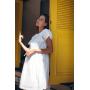 Белое хлопковое платье с перфорацией