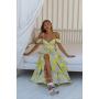 Асимметричное платье с желтыми цветами
