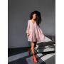 Розовое ярусное платье в мелкий цветочек
