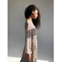 Шифоновое платье миди в сиреневый цветочек