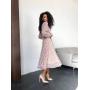 Шифоновое платье миди в розовый цветочек