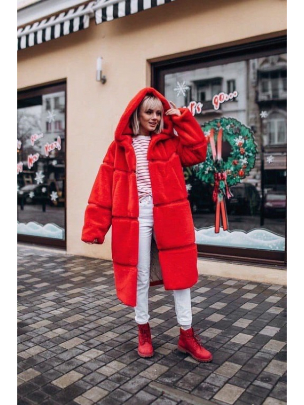 Красная зимняя шуба миди с капюшоном TM Estilo Diani