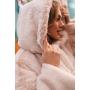 Кремовая зимняя шуба миди с капюшоном TM Estilo Diani