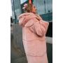 Пудровая зимняя шуба миди с капюшоном TM Estilo Diani