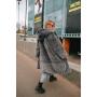 Серая зимняя шуба миди с капюшоном TM Estilo Diani
