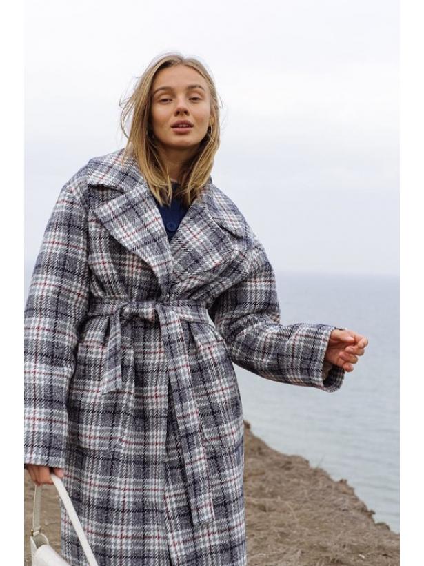 Зимнее серое клетчатое пальто миди
