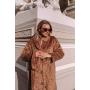 Карамельная зимняя шуба хаки свободного кроя TM Estilo Diani