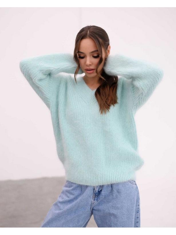 Голубой пушистый свитер из Ангоры Estilo Diani