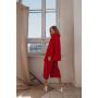 Красный шелковый костюм с брюками кюлот