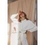 Молочный шелковый костюм с брюками кюлот