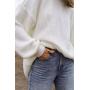 Молочный удлиненный хлопковый свитер Estilo Diani