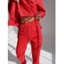 Красный замшевый костюм с капюшоном