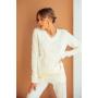 Молочный шерстяной вязаный костюм с V вырезом TM Estilo Diani
