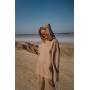 Песочный замшевый костюм с капюшоном