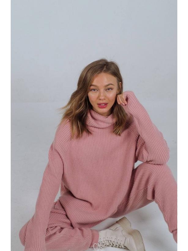 Розовый вязаный костюм в рубчик TM Estilo Diani