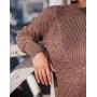 Шерстяной костюм мокко с плетением в косы Estilo Diani