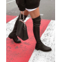 Черные кожаные ботфорты на плоском ходу Италия