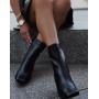 Черные фактурные ботильоны на каблуках Италия