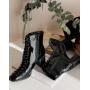Черные лаковые ботильоны со шнуровкой Италия