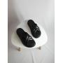 Черные кожаные шлепанцы на платформе