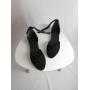 Черные замшевые босоножки на плоском ходу