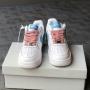 Белые кроссовки Nike Air Force 1 Pink Blue