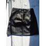 Черная кожаная юбка мини с молнией