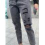 Серые джинсы mom с дырками