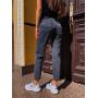 Серые укороченные джинсы мом