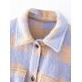 Сиреневая байковая рубашка в клетку