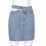 Джинсовая мини юбка с вырезом