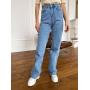 Голубые широкие джинсы палаццо