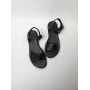Черные кожаные босоножки на толстой подошве