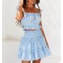 Голубой костюм топ и мини юбка в горошек