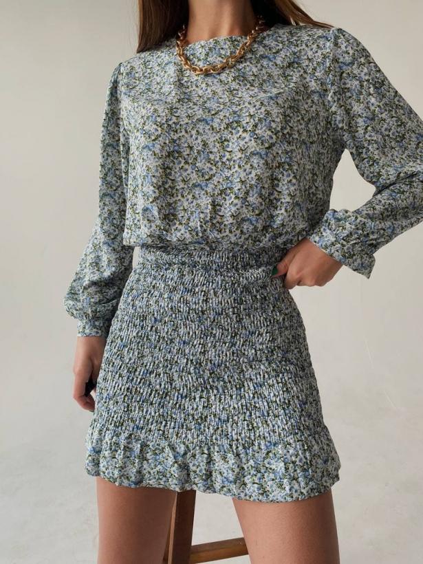 Цветочное платье мини с юбкой резинкой