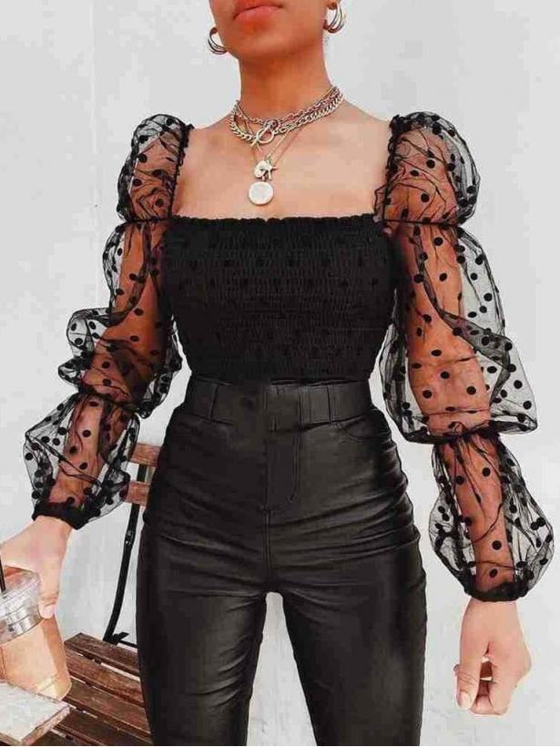 Кроп блузка с прозрачными рукавами в горох