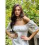 Белое льняное приталенное платье миди