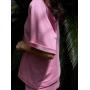 Розовый хлопковый костюм с шортами