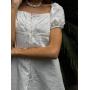 Белое платье из хлопка с рукавами фонариками