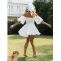 Белое платье с объемными рукавами и драпировкой