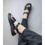 Черные стеганые сандалии из натуральной кожи