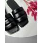 Черные стеганые шлепанцы из натуральной кожи