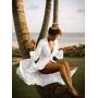 Белое пляжное платье на пуговицах