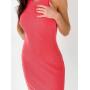 Ярко-розовое платье майка миди в рубчик