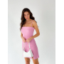 Розовое льняное платье мини