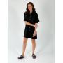 Черное льняное платье с разрезом на спине