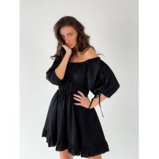 Черное короткое пышное платье с драпировкой