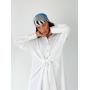 Белое льняное платье рубашка миди с завязкой