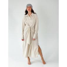 Бежевое льняное платье рубашка миди с завязкой