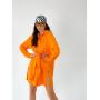Оранжевое льняное платье рубашка с завязкой